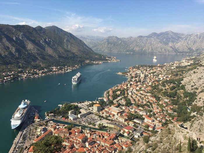 High angle view of kotor harbour in montenegro