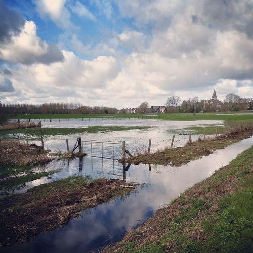 Gate Churchtower Marsh Flooded Meadow Water Lake Rural Scene Beauty Sky Landscape Cloud - Sky Wetland