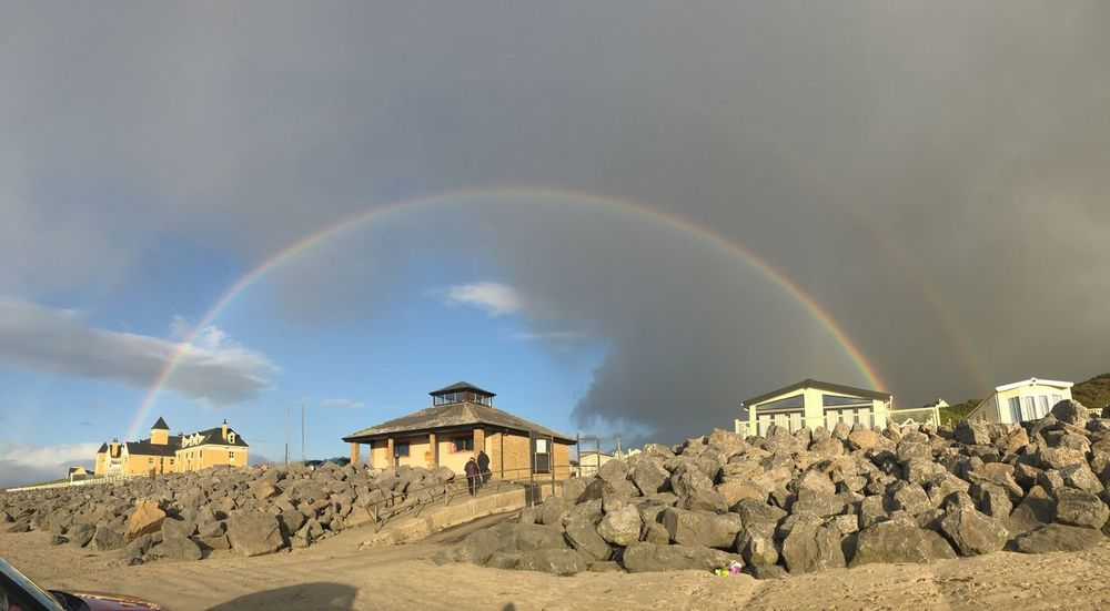 Rainbow Built Structure Building Exterior Sky Architecture Beauty In Nature Outdoors No People Scenics Cloud - Sky Nature Double Rainbow Day Beach Surfing