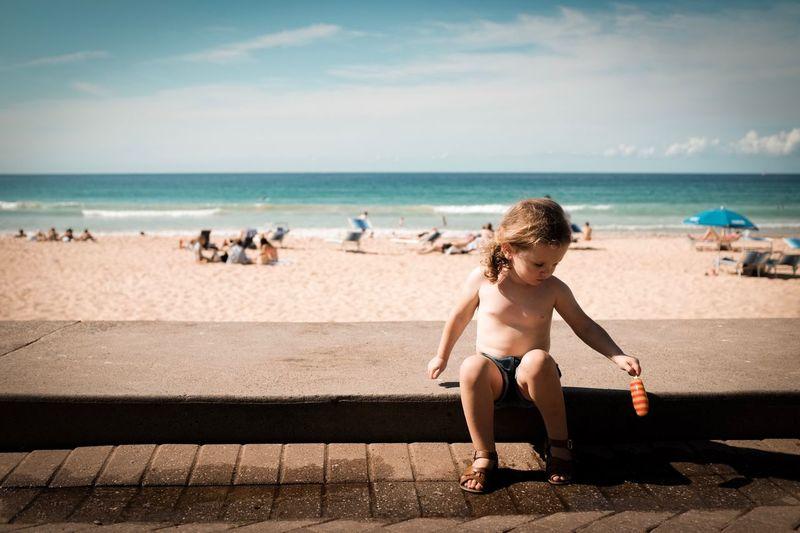 Sea Water Land Childhood Beach Horizon Over Water Child