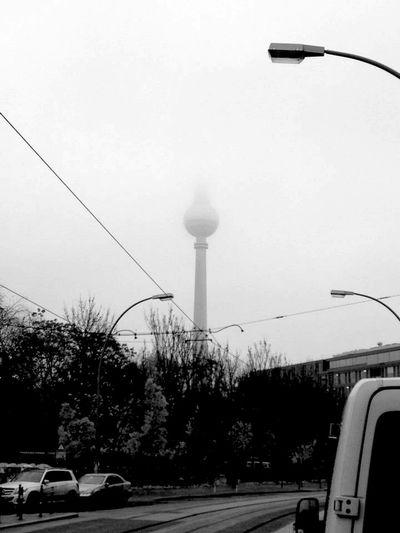 Alexanderplatz Berliner Fernsehturm Tower Berlin Fog Blackandwhite Me Around The World Rainy Days Clouds Traveling