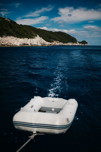 Boatlife Babyboat Beauty In Nature Blue Sky Blue Wave Croatia Dinghy Inflatable  Islandlife Mode Of Transport Mountain Nature Nautical Vessel No People Ocean View Outdoors Sailing Sailing Boat Scenics Sea Sky Tranquility Transportation Water Waterfront