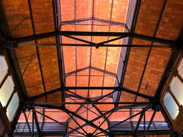 Roof Vintage Antique Architectural Detail Repetition Brick Ceiling Brick Abstract Geometric Architecture Geometry Geometric Shape EyeEm Best Shots EyeEmNewHere Pattern Architecture Built Structure Architecture No People Low Angle View Pattern Metal Orange Color Geometric Shape Full Frame Ceiling Illuminated Directly Below Construction Equipment The Architect - 2018 EyeEm Awards