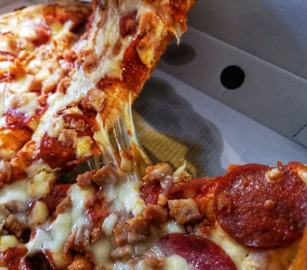 Meat feast pizza Takeaway Eyeem Food  EyeEm Gallery Huawei P20 Pro Photography Huawei P20 Pro Close-up Food And Drink Pizza Pizzeria Tomato Sauce Parmesan Cheese Italian Food Fast Food Basil Pepperoni Pizza Pepperoni Pizza Box