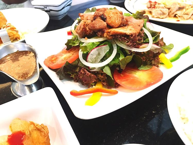 fried pork salad Eating Food And Drink Healthy Eating Food Serving Size Plate Ready-to-eat Meal High Angle View Gourmet Organic Food Vegetarian Food Delicious Pork FUJIRestaurant