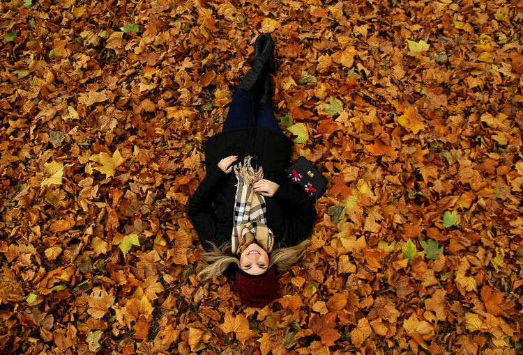High Angle View Of Young Woman Lying On Leaves Covered Field During Autumn