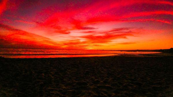Sunset Dramatic Sky Beach Sea Horizon Over Water Orange Color Red Scenics Sky Landscape Nature Horizon Tranquil Scene Outdoors Beauty In Nature Cloud - Sky Vacations Reflection No People Tranquility California Love California Santa Cruz Rio Del Mar Beach Life