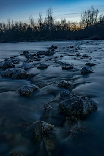 Drava flow. EyeEmNewHere Nature Photography Nature Croatia Water Tree Sunset Cold Temperature Snow Winter Sky Landscape Calm Tranquil Scene Horizon Over Water Tranquility Idyllic