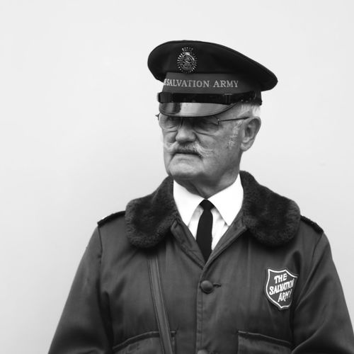 Street Photography Candid Mustache Salvation Army Clothing Uniform One Person Government Front View Studio Shot White Background Portrait Looking Away Uniform Cap