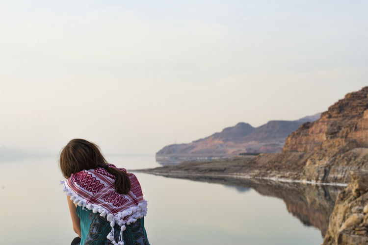 Tranquility Beauty In Nature Dead Sea  Girl Jordan Landscape Nature Reflection Sky Tranquility Travel Water First Eyeem Photo