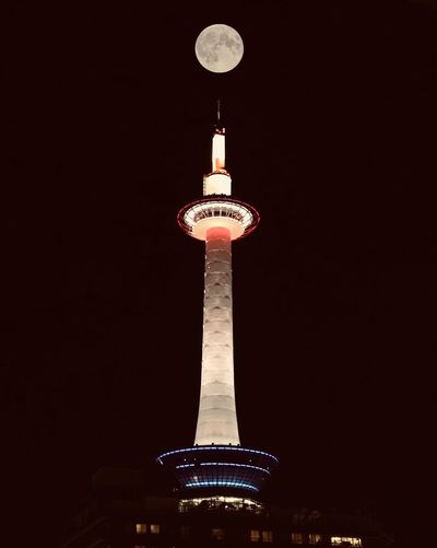 Moon Fulmoon Illuminated Architecture Tall - High Built Structure Low Angle View Tower Night