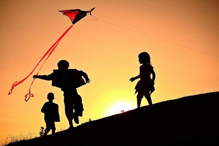 Kite Check This Out EyeEm Best Shots NEM Submissions Kite Children Silhouette Sunset Fun Summer
