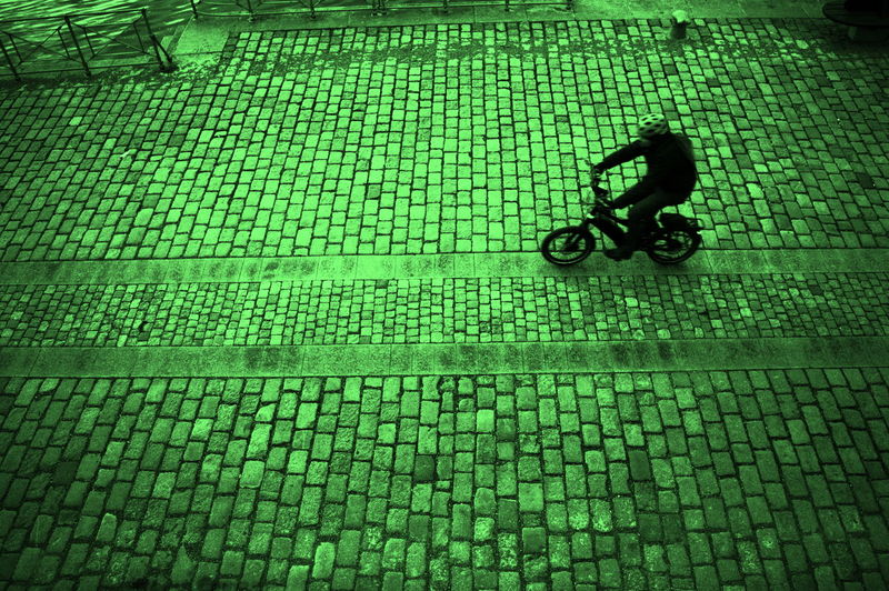 Bicycle Cobblestone Green Color High Angle View Naplavka One Person Outdoors Prague♡