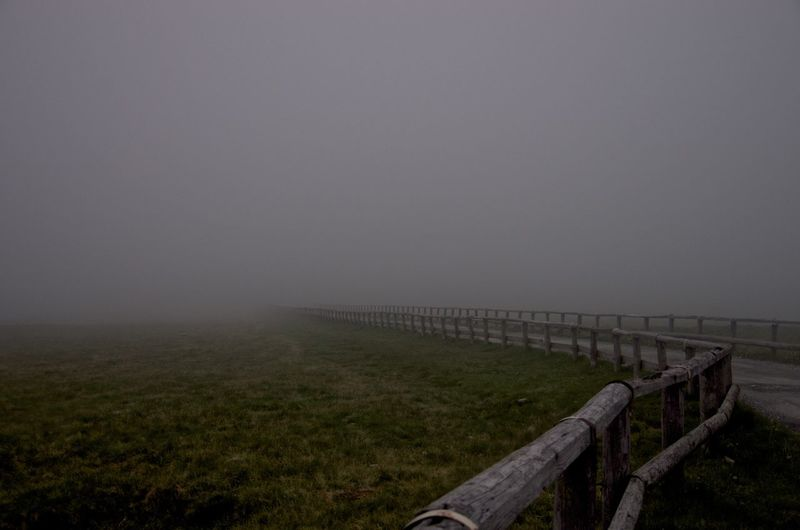 Road on grassy field during foggy weather