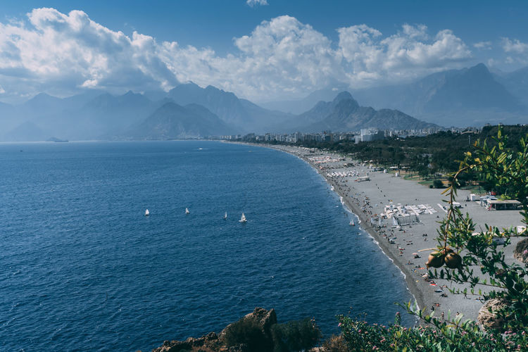 6th october 2019 antalya, turkey scenic view of the konyaalti beach, the very long coast.