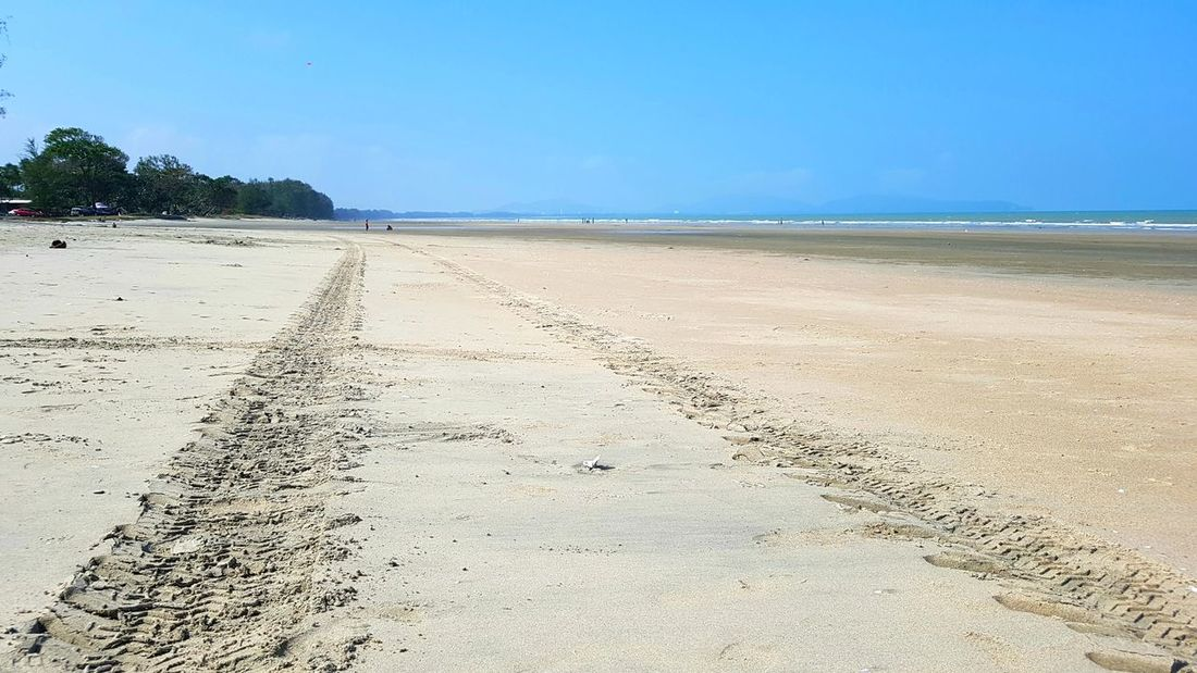 Tyre Tracks vanishing point Seascape Nature Beach Sand Sea Sky Sunny Tranquil Scene Water