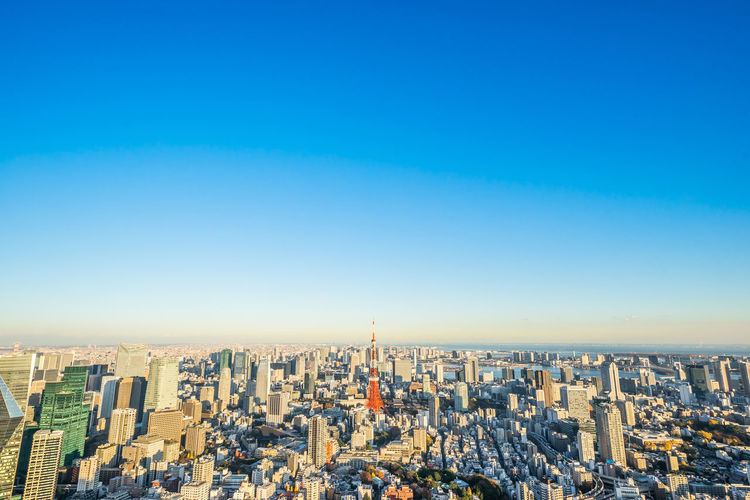 Architecture Bird Eye View Bright Business City Cityscape Financial District  Japan Modern Architecture Panorama Panoramic View Skyline Tokyo Tower Background Blue Sky Corporate Construction Famous Travel Attraction Landmark Mori Property Real Estate Roppongi Hills Skyscraper Sunset Urban