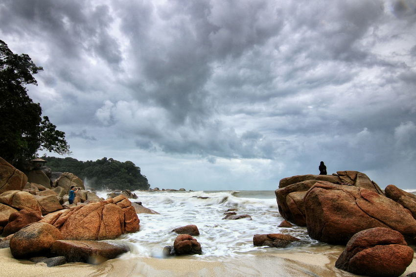 Monson Morning Sky Beach Sea Cloud - Sky Rock - Object Outdoors Nature Sky Water Day Landscape People Adult Wave Beauty In Nature