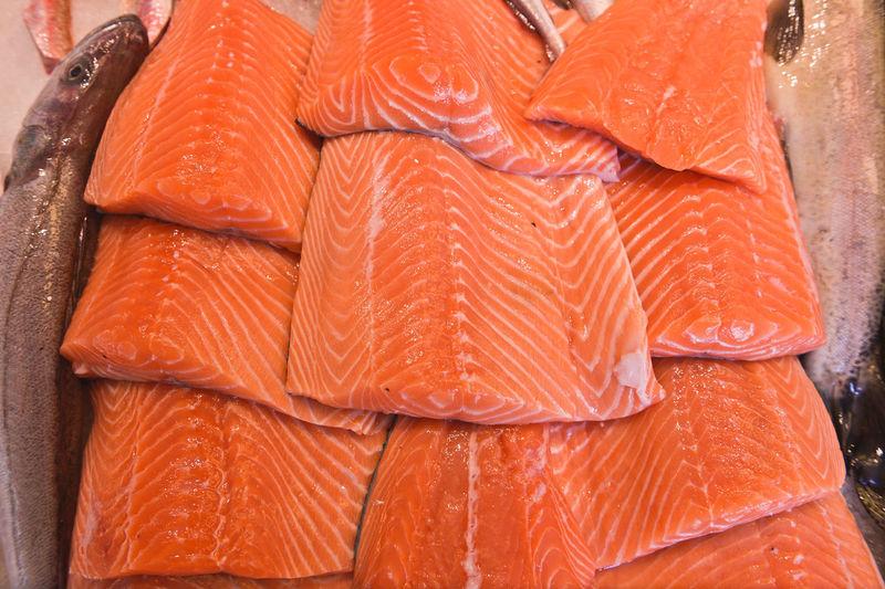 Close-up of sliced salmon fish