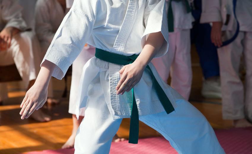 People practicing karate