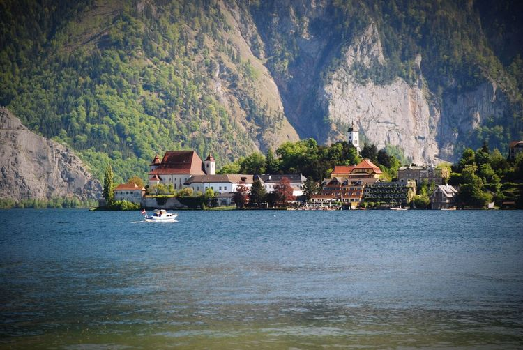 Mountain Waterfront Water Outdoors Lake Day House Nature No People Tranquility Scenics Landscape Travel Destinations Mountain Range Beauty In Nature Vacations Traunsee Traunkirchen Alps Lake Salzkammergut Austria Upper Austria