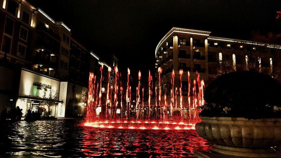 Beautiful Night Latenight Fountain Lights Americana Fountain Show Glendale
