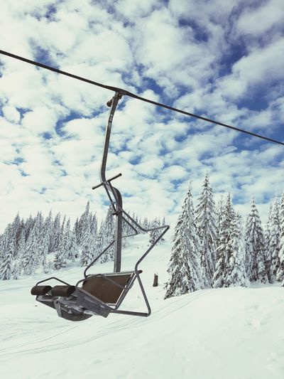Snow Cold Temperature Winter Sky Cloud - Sky Nature Day No People White Color Beauty In Nature Field Tranquility Frozen Tree Mountain Cable Land Cable Car Scenics - Nature Outdoors