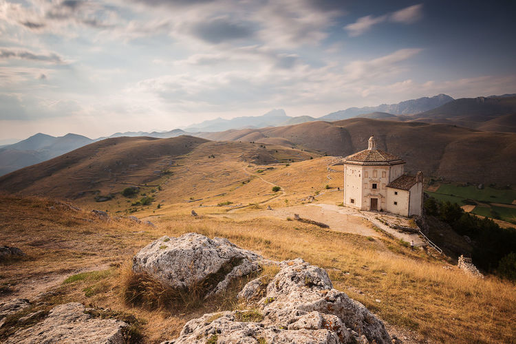 Little Church Abruzzo Rocca Calascio Architecture Beauty In Nature Built Structure Cross Day Europe History Italy Mountain Mountain Range Nature No People Outdoors Place Of Worship Religion Scenics Sky Spirituality Travel Destinations