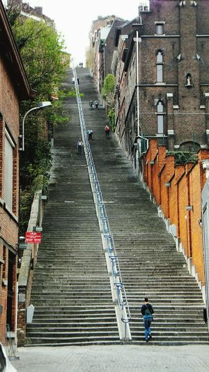 Montagne De Bueren Architecture Steps People Built Structure Building Exterior Many Steps Taken In A Day Day City Belgium♡ in Liège, Belgium