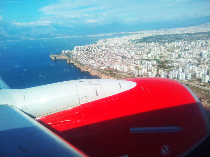 Aerial View Blue Coastline Coastline Antaly Day Holidays ☀ Just Flying Over The Mediterranean Se Landing In Antalya Left Turn Over The Water Mode Of Transport No People Ocean Outdoors Red Scenics Sea Seascape Shore Shore Of Antalya Sky Tourism Transportation Travel Destinations Water