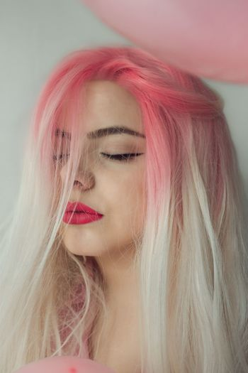 Vogue Dyed Hair Pink Hair Real People One Person Red Lifestyles Young Women Long Hair Indoors  Fashion Close-up Lipstick Beautiful Woman Portrait