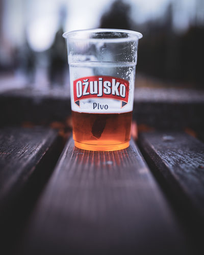 Beer Croatia Hrvatska Capital City Zagreb Beerporn Cup Drink Drunk Pivo Piva Ozujsko Goodtime Energy Light Shadows Time Life Love Bokeh Autumn 2018 Colors Bench Park Text Close-up Beverage Alcoholic Drink