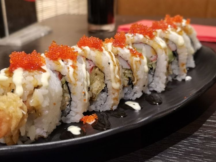 softshell crab roll close-up Softshell Crab Softshellcrab Tobikko Fish Roe Fish Eggs City Sushi Gourmet Plate Seafood Savory Food Fish