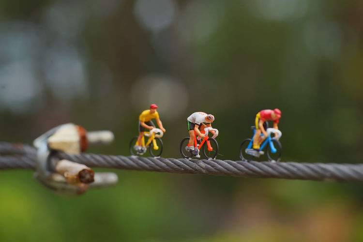 Close-up of figurine on rope