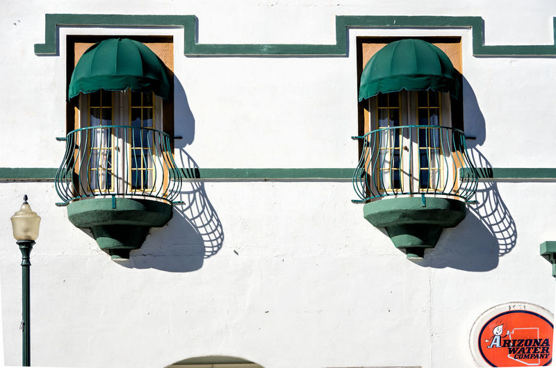 Buildings and Things in Miami, Arizona Windows Green Awnings Street Lamp Architeture Horizonal Lines And Shapes Stucco Wall