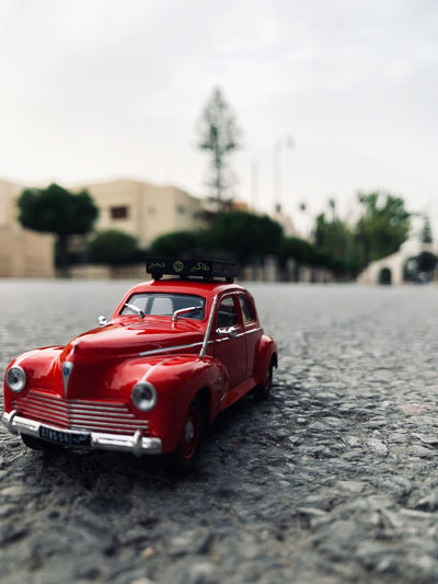 Toy car on street