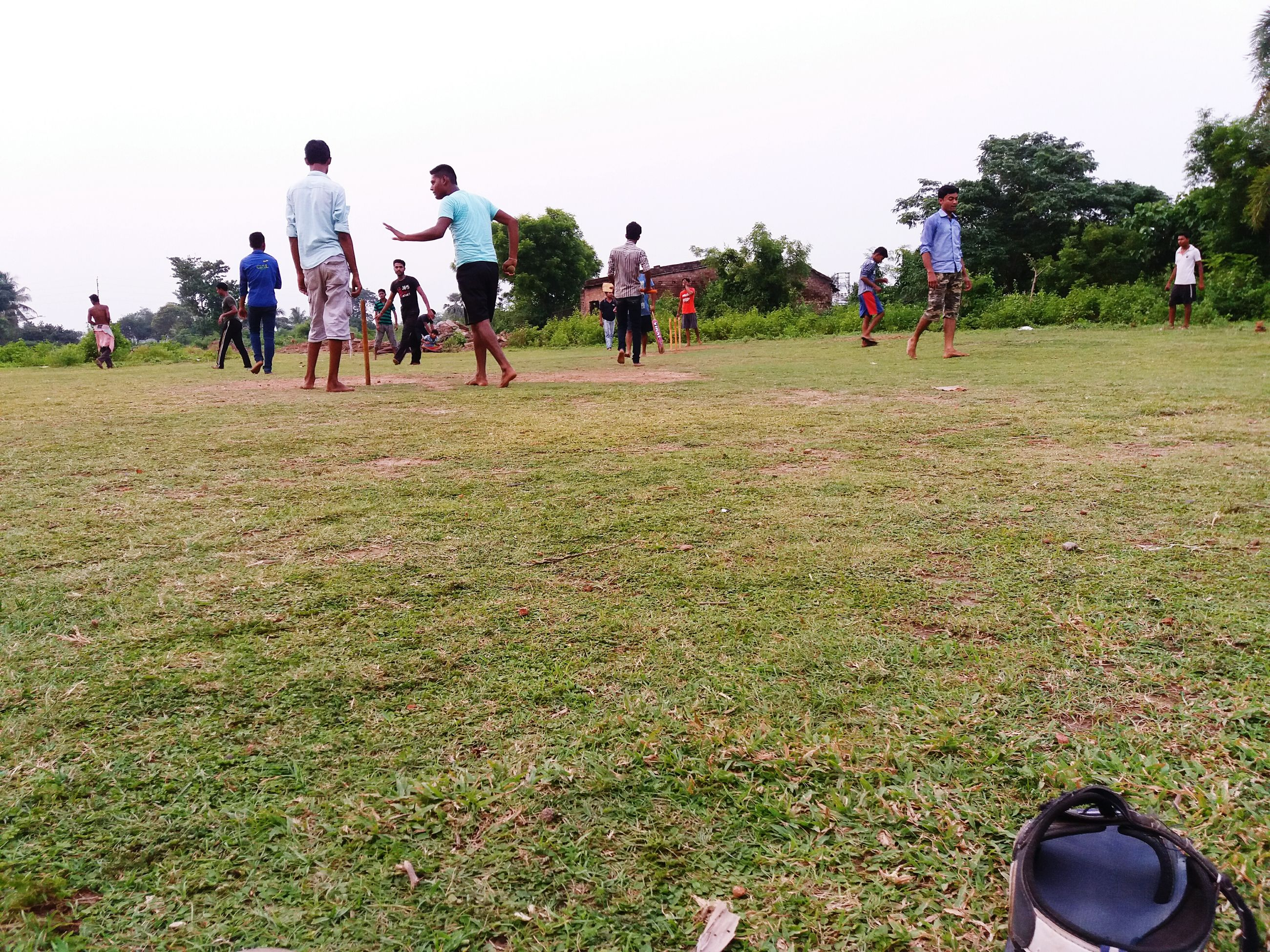 grass, large group of people, men, leisure activity, lifestyles, field, person, grassy, green color, clear sky, crowd, togetherness, mixed age range, day, outdoors, copy space, park - man made space, medium group of people, group of people