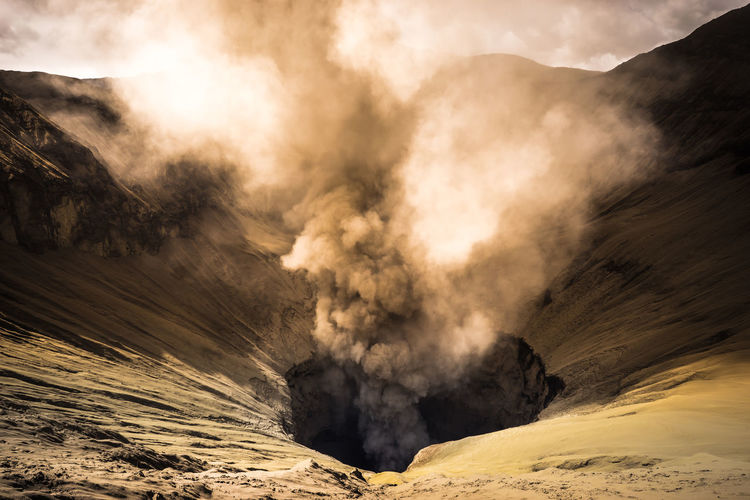 Smoke Erupting From Volcanic Crater