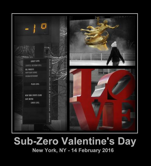 Sub-Zero Valentine's Day Rockefeller Center, Girl, People, Love, Steam Fog Sub-Zero Valentine's Day -1F, NYC, New York City, Urban, Weather City Day Information Information Sign Meteorology Sub-Zero, Below Zero Text Western Script Winter, Cold, Fahrenheit,