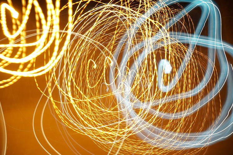 Wire Wool Illuminated Long Exposure Motion Light Trail Communication Speed Technology Glowing Sky Light Painting