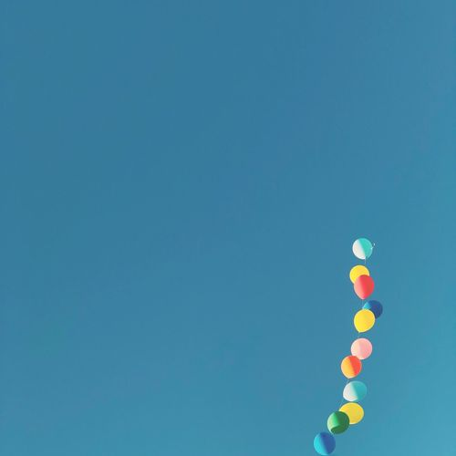 Blue Multi Colored Copy Space No People Sky Low Angle View Balloon Sunny Clear Sky Celebration The Still Life Photographer - 2018 EyeEm Awards The Creative - 2018 EyeEm Awards