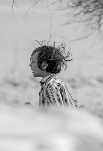 Hair Flying Hair Profile Child Portrait Tangled Hair Hairy  Children Caucasian Head And Shoulders Preschooler Monochrome Elementary Age