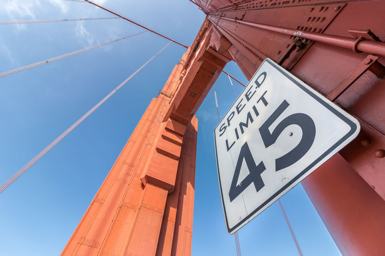 45 Miles America American Architecture Attraction Below View Blue Bridge Cable California City Close Detail Famous Francisco Gate Golden Landmark Red San Sidewalk Sign Signboard Sky Speed Limit Suspension Tourism Travel Up USA View Walking