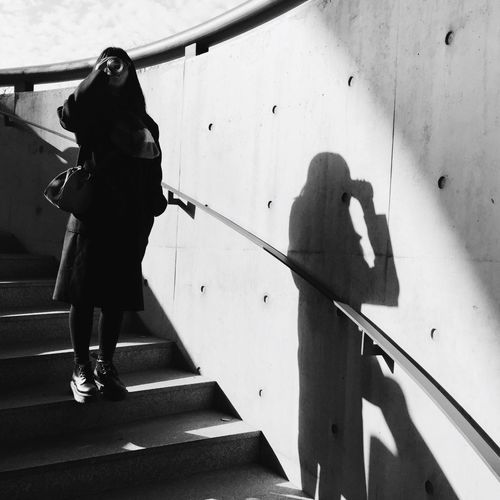 Portrait Drinking Shadow Light And Shadow Steps Stairs Monochrome Blackandwhite Blackandwhite My Unique Style ThatsMe Real People Leisure Activity Lifestyles Standing Outdoors
