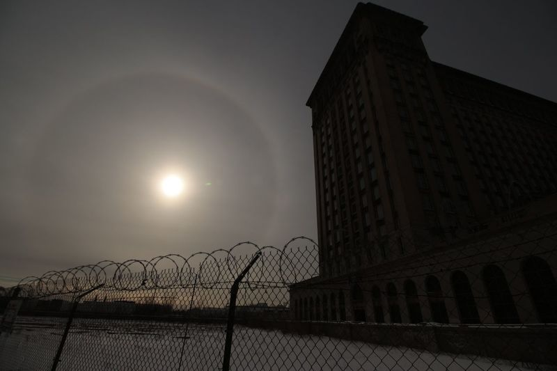 Frozen Sky Architecture Train Station Detroit Winter Abandoned Buildings Cold Temperature Outdoors Building Exterior City