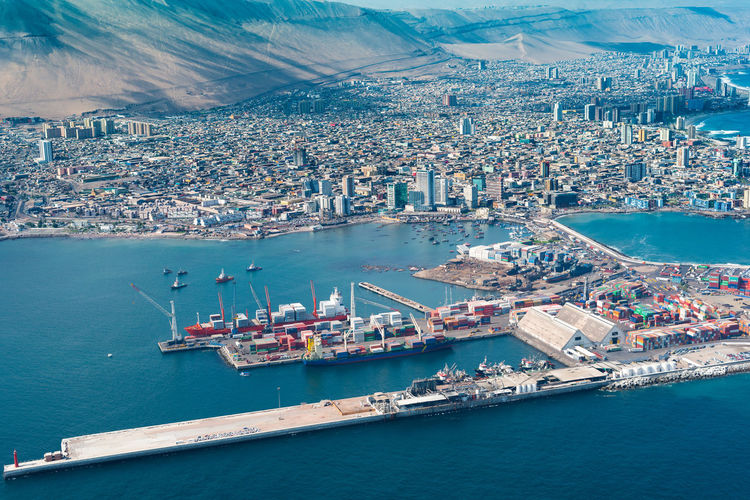 Iquique, tarapaca region, chile - aerial view of the port city of iquique in northern chile.