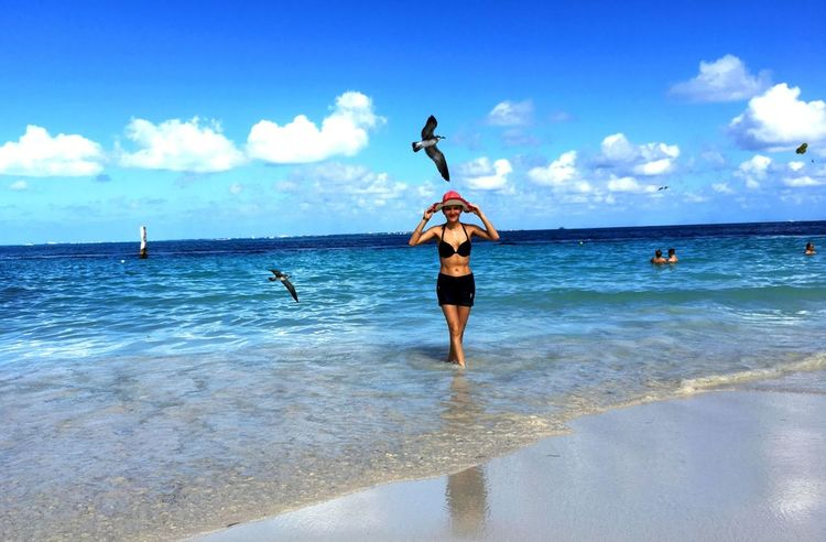 Morning in Cancun Attraction Beach Birds Cancun Caribean Friendlylocalguides Girl Happy Holidays Mexican Mexico Morning Sand Sky Vacations