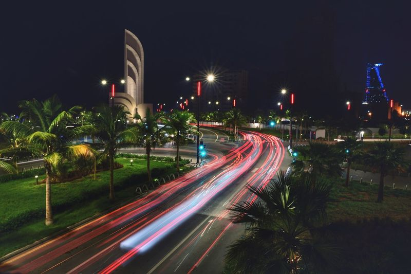 Illuminated Night Long Exposure Light Trail Motion City Architecture Street Road Speed Transportation Built Structure No People Glowing Lighting Equipment Street Light