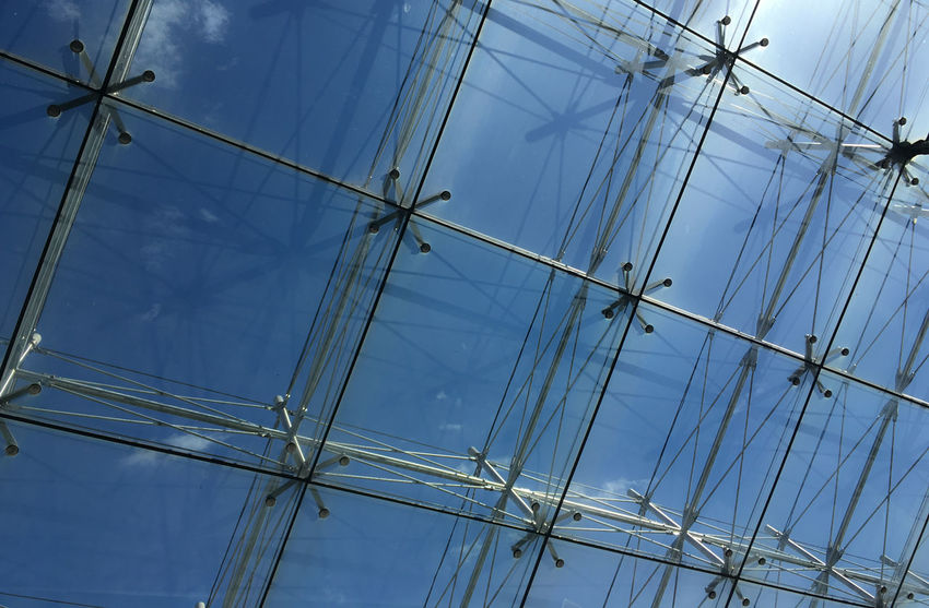 Blue Caged Freedom Glass Low Angle View Modern Architecture No People Outdoors Roof Sky
