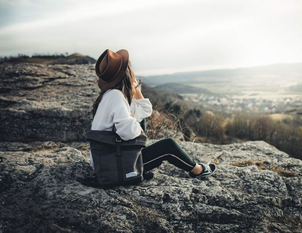 What a wonderful view Lightroom Photoshop Art Fashion One Person Real People Full Length Rear View Sitting Nature Women Outdoors Landscape Mountain Beauty In Nature Young Women Lifestyles EyeEmNewHere EyeEm Ready